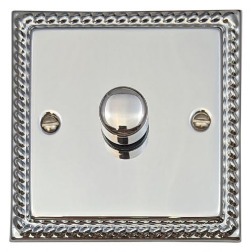 G&H MC15 Monarch Roped Polished Chrome 1 Gang 1 or 2 Way 700W Dimmer Switch Single Plate